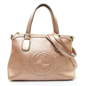 Auth Gucci Soho Convertable Bag Leather #8067G37